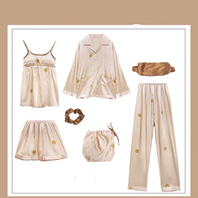 Женские пижамные комплекты, 7 шт., шелковые комплекты одежды для сна, весна-осень, домашняя одежда для женщин, пижамные комплекты, 2020