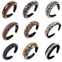 luxury full crystal bejeweled hairbands padded baroque rhinestones headbands for women fashion hair bands hair accessories