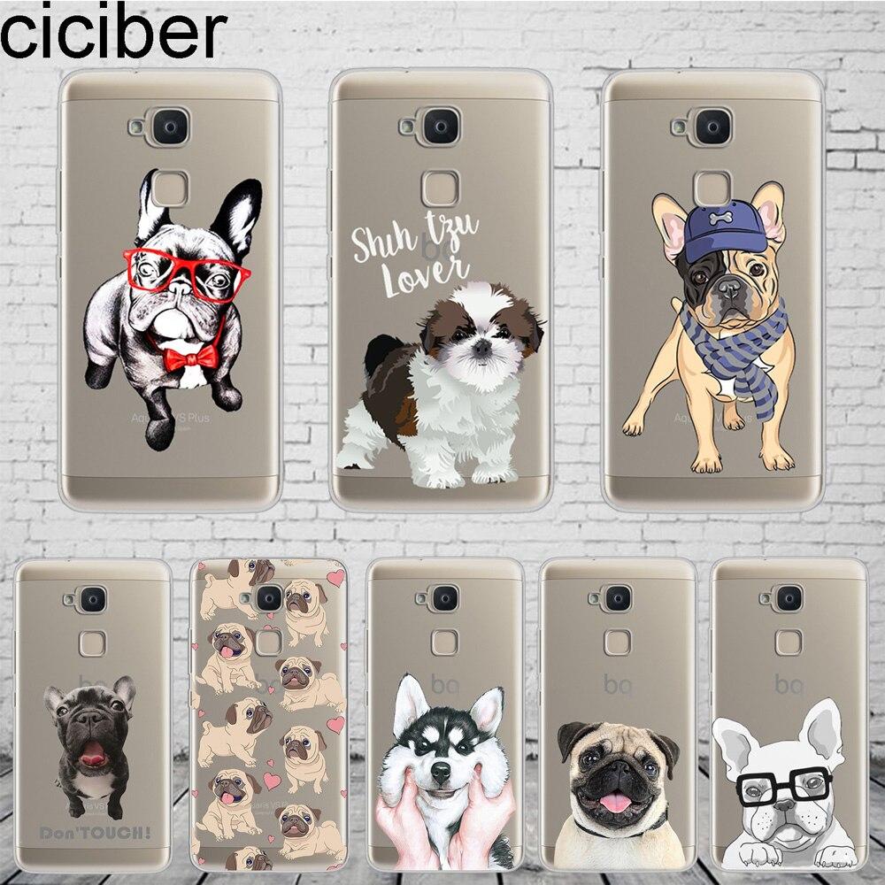 Ciciber Animal lindo perro de Coque para BQ Aquaris C U2 U X5 V del X2 X Lite Pro Plus Fundas E5 E4.5 M5 M5.5 suave de la caja del teléfono del TPU