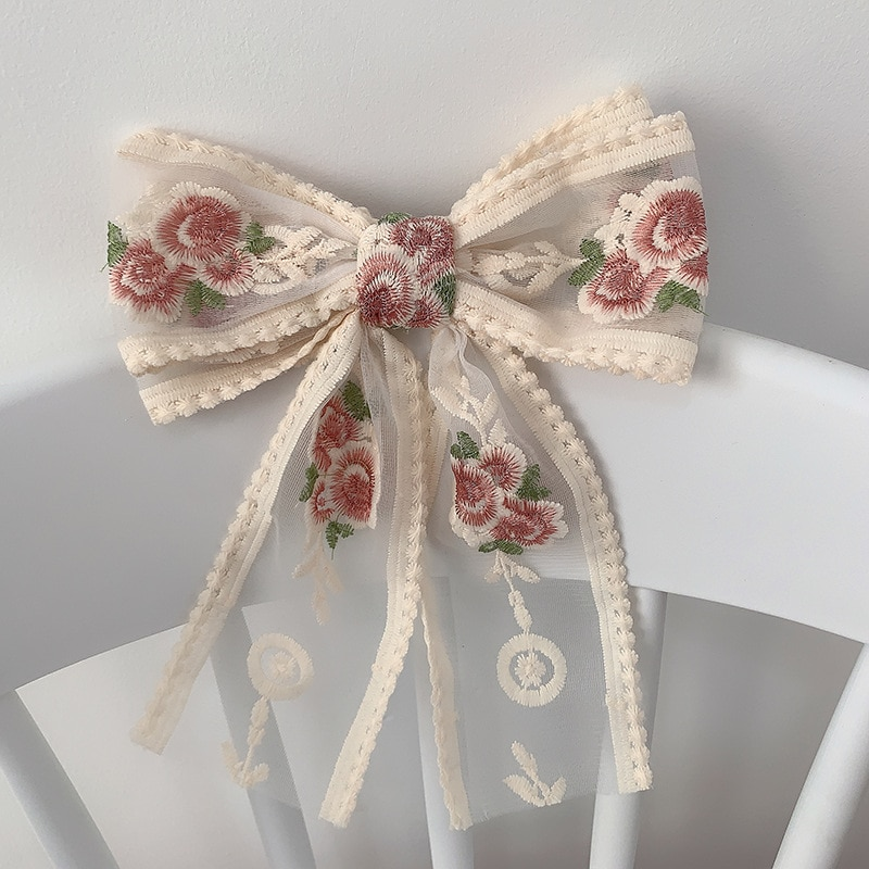 Korean Style Embroidery Hair Bows Clip For Women Ponytail Girls Wedding Lace Ribbon Japan Hairpins Barrette Hair Accessories