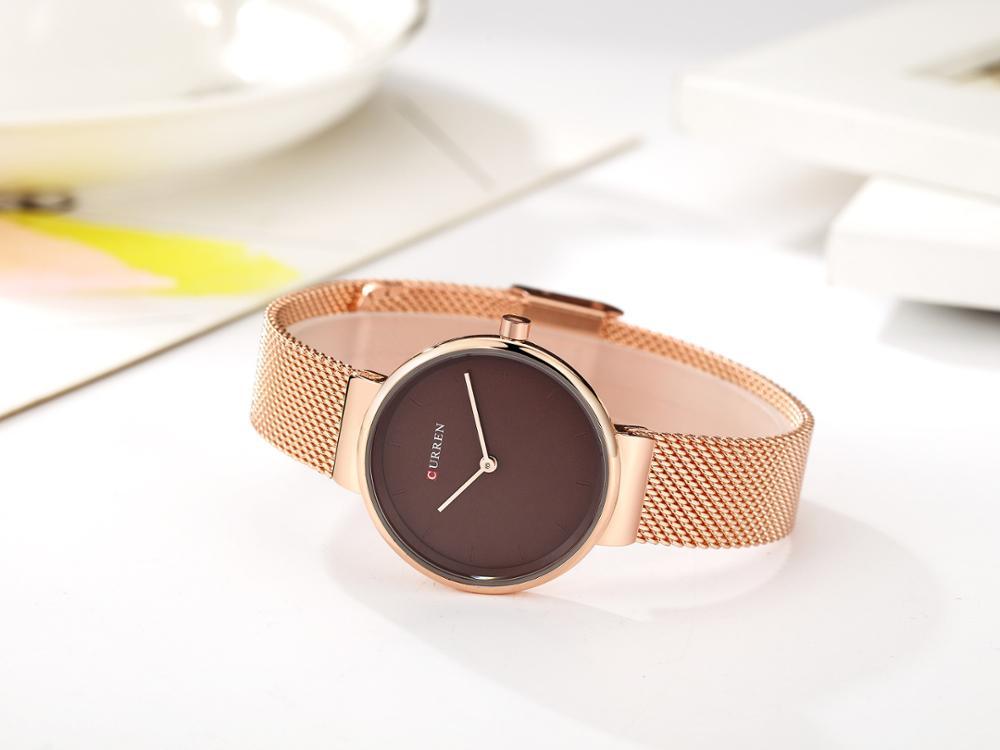 CURREN Women Watch Top Brand Rose Gold Mesh Watch 2019 Creative Fashion Design Quartz Watches Hardlex Mirror Relojes Para Mujer enlarge