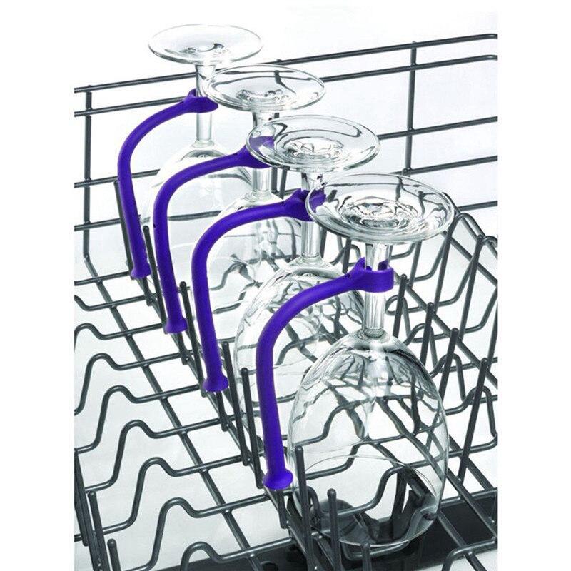 Copa de vino de silicona SEAAN de 4 Uds. Con ajuste flexible, copa para lavavajillas, soporte protector de copas más seguro, soporte para champán