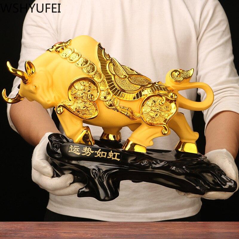 Cow Ornaments Resin Bull Statue Big Wall Street  Fierce Bull Sculpture Home Living Room Study Mascot Decoration Accessorie