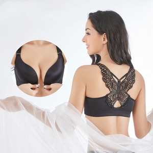 Front Closed Butterfly Beauty Back Push Up Brassiere Sexy Underwire Bra For Women Underwear Solid Color Female Lingerie