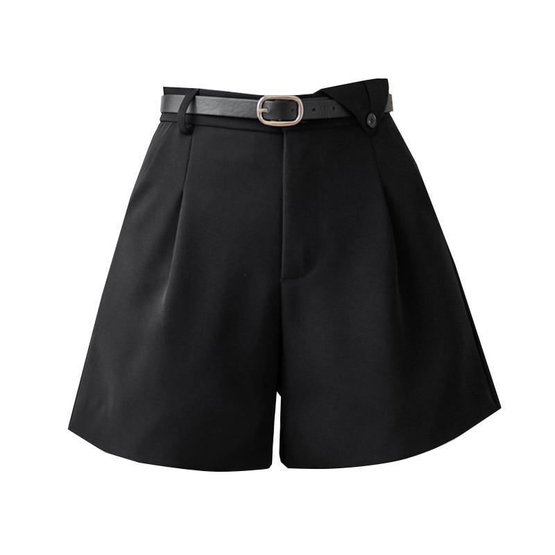 Summer Shorts Female Fashion Korean Style High Waist Black Women Shorts 2021 fashion Wide Leg Slim Suit Short Pants  - buy with discount