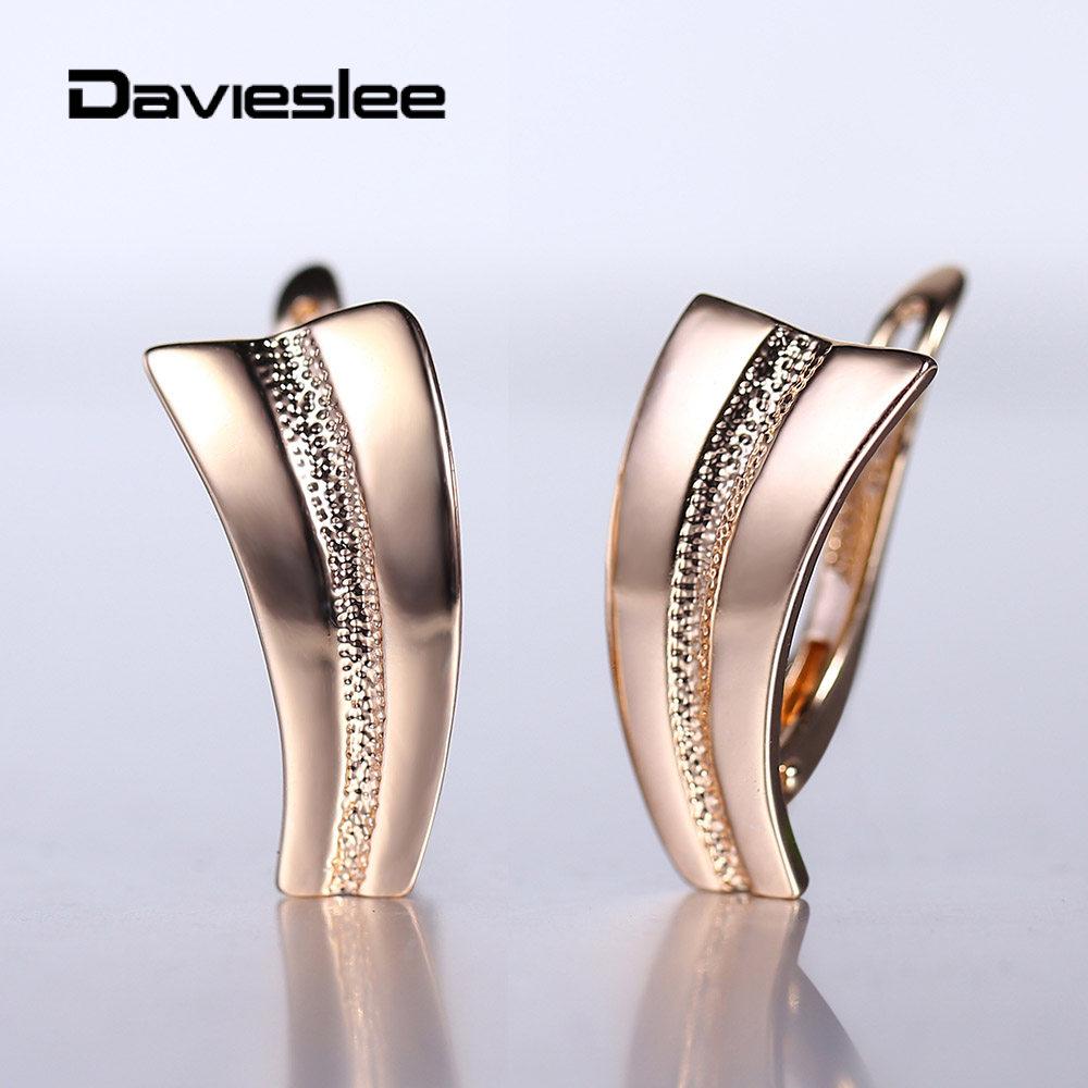 Drop Ohrringe für Frauen 585 Rose Gold Ohrringe Einfache Elegante Geometrische Mode Hochzeit Partei Schmuck Geschenke LGE281