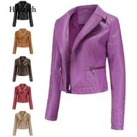 2021 spring womens leather jacket slim turn down collar short pu leather jacket women zipper motorcycle jackets outwear female