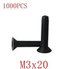 1000pcs wholesale M3*20 m3x20  black cross flat plastic screw Nylon insulated screw countersunk head cross bolt screw