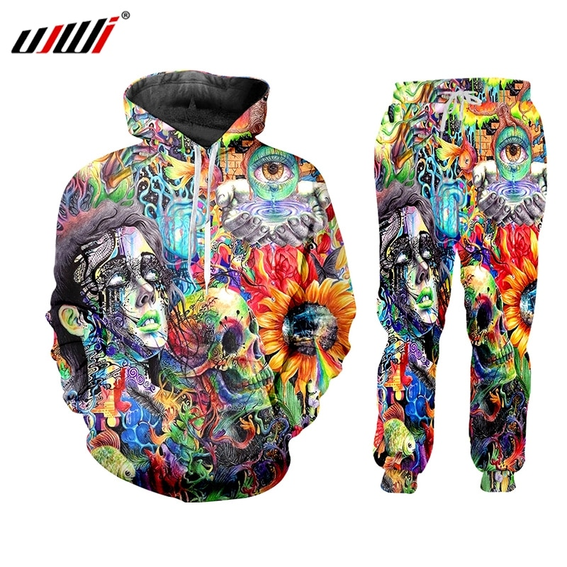 UJWI 3D trajes de impresión para hombres conjuntos calavera estrellas nebulosa divertido Harajuku invierno Unisex 3d chándal chaqueta sudadera ZIP Hoodies