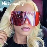 2020 oversized sunglasses women brown gradient fashion rimless metal female shades anti uv goggles luxury star designer eyewear