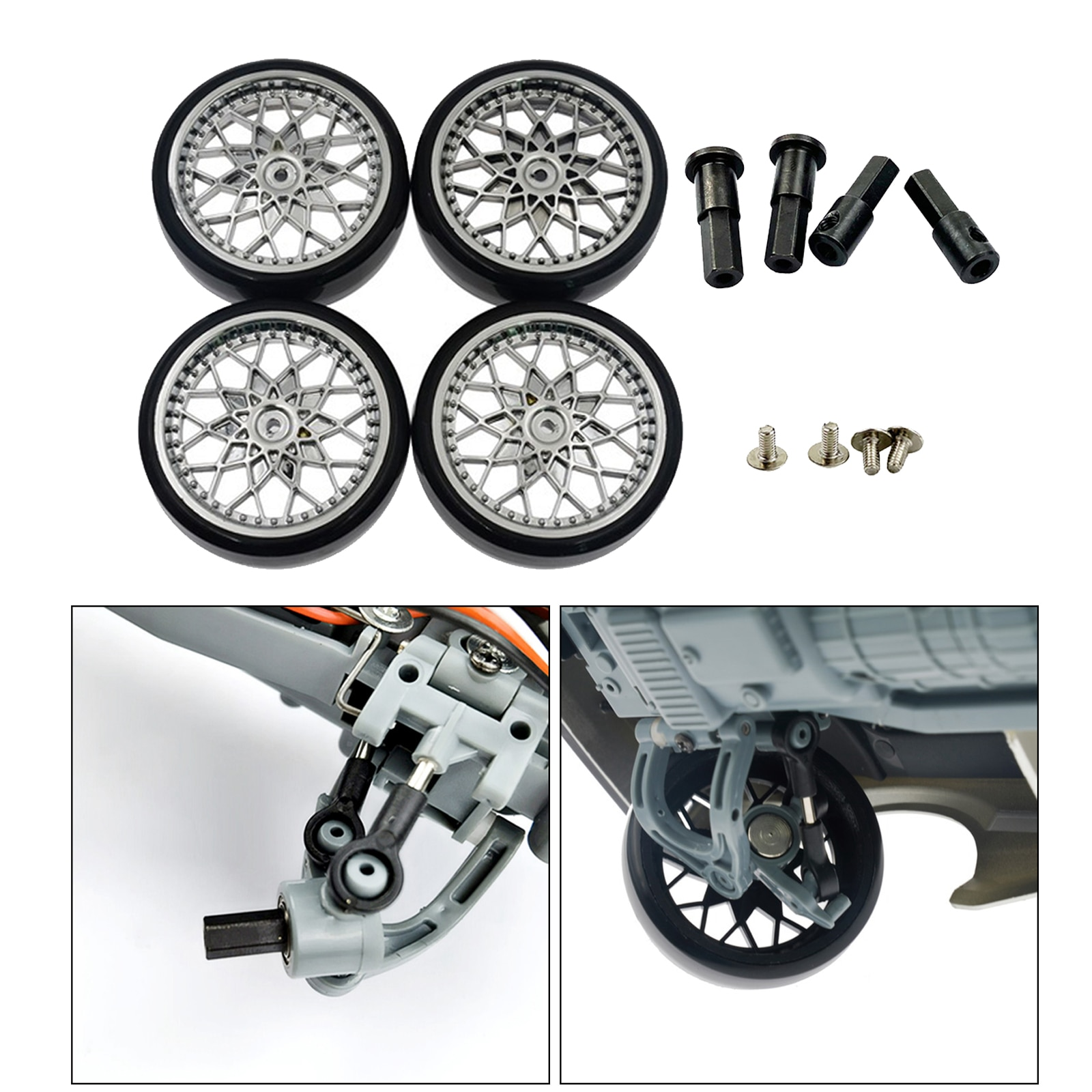 4x Remote Control Model Vehicle Rubber Wheel Tires + Front and Rear Wheel Axle for 1/10 Scale WPL D12 Trucks Car Accessorie enlarge