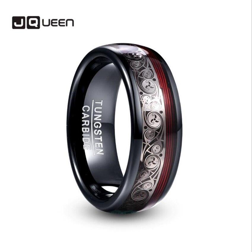 JQUEEN 8mm de ancho tungsteno acero anillo plateado negro incrustación Triple Patrón En Espiral + rojo guitarra cadena tungsteno carburo anillo Venta caliente
