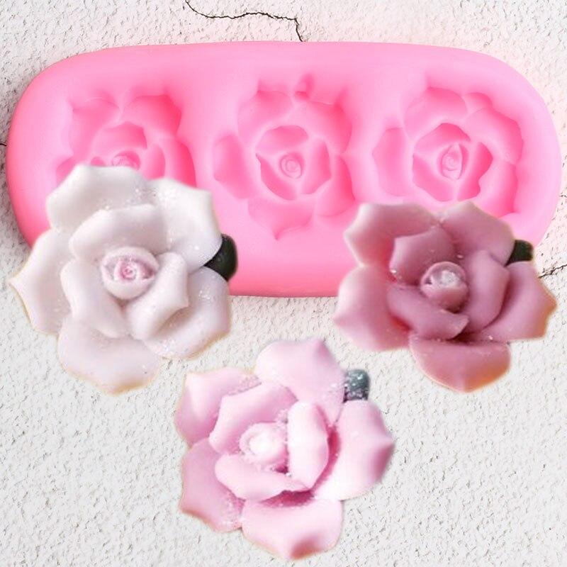 Molde de silicona con forma de Rosa DIY para fiesta, Cupcake, Topper, utensilios para decoración de tortas con Fondant, caramelo, arcilla, Chocolate, moldes de pasta de goma