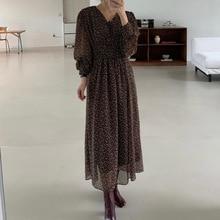 Elegance Retro Small Floral Women Mid-length Dress Autumn New 2021 High Waist Fashion Women Casual S