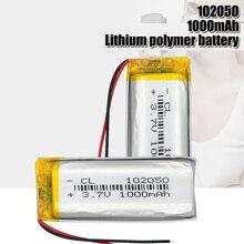 3.7v batteria ai polimeri di litio ricaricabile 102050 1000mah Li-Po per la piccola in acciaio pistola Bluetooth speaker di ricarica core
