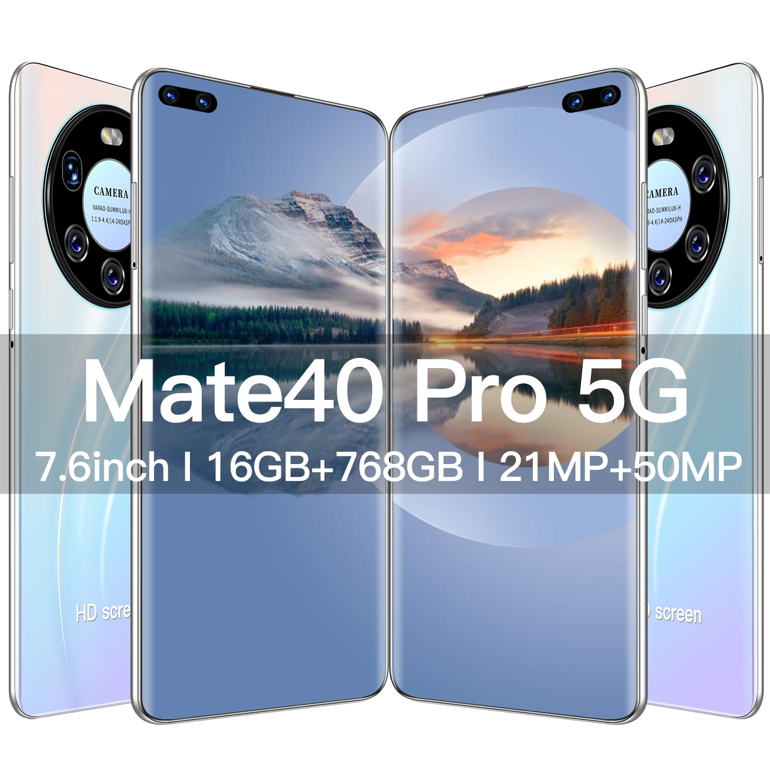 Mate40 Pro+ cheap smartphone new Cell Phone 16GB+768GB Cell Phone Android11.0 and 7.6Inch HD Screen 5G Network Smartphone