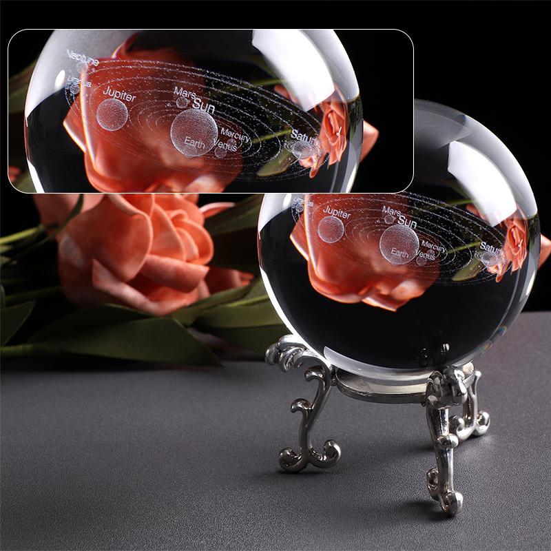 Bola con sistema Solar grabado con láser de 6CM, modelo planetas en miniatura en 3D, globo de cristal esférico, decoración del hogar, regalo para Astrophile
