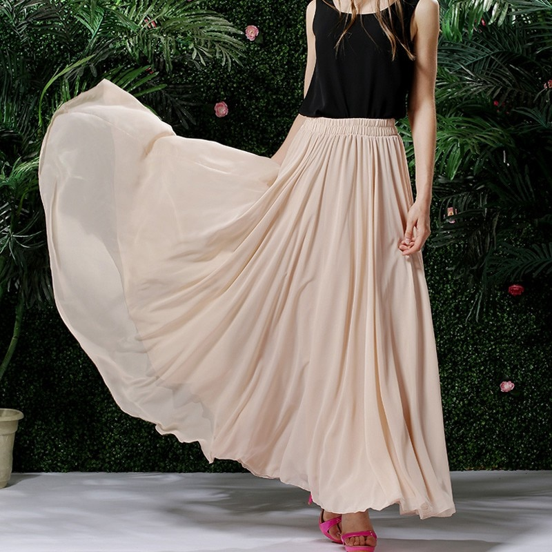 3 Layer Chiffon Long Skirts For Women Elegant Casual High Waist Boho Style Beach Maxi Saias 80/90/100cm 2021 Spring SK273