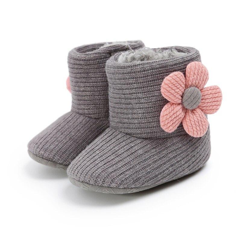Botas bonitas tejidas para bebé chico y niña, 5 colores, suela suave para niños pequeños, botas cortas cálidas suaves para nieve para niños y niñas, zapatos de 0 a 18 meses