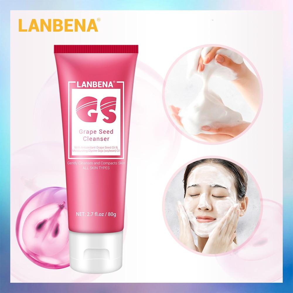 Lanbena vitamina e rosto limpador de espuma facial limpeza hidratante profundo cleasing óleo pele suave lavagem facial cuidados com a pele nutritiva