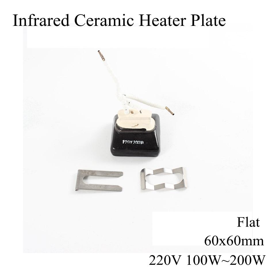 60*60mm 220V 100W ~ 200W Infrared Ceramic Heater Plate Upper Air Heating Board Flat Curve BGA Rework Station Pet Lamp 60x60mm