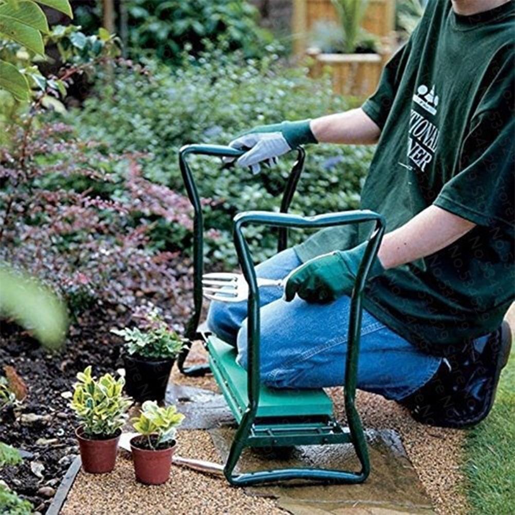 150kg de carga, arrodillador de jardín con asas, taburete de jardín plegable de acero inoxidable con almohadilla de EVA para arrodillarse, regalos de jardinería