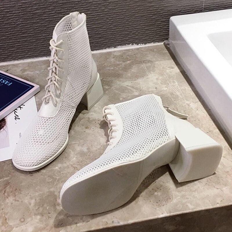 2020 Martin botas de verano para mujer, botas de malla transpirable, Sandalias de tacón fino y grueso para mujer, botas cortas de malla huecas para mujer