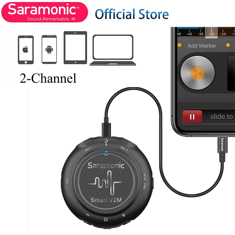 Smart V2M interfaz de Audio ultraportátil con dos Lavaliers omnidireccionales para Apple Lightning (iPhone y iPad), Android USB-C
