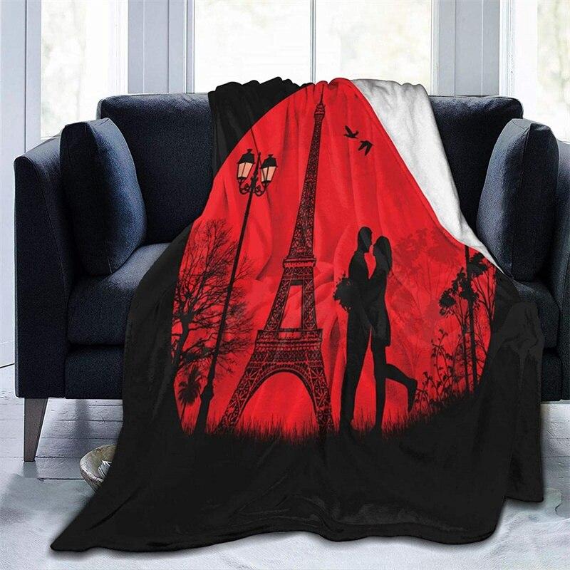 عشاق في باريس على الغروب نافاجو كوبري كامارا الأخضر رمي بطانية ثلاثية الأبعاد الطباعة على الطلب شيربا سوبر مريحة ل أريكة