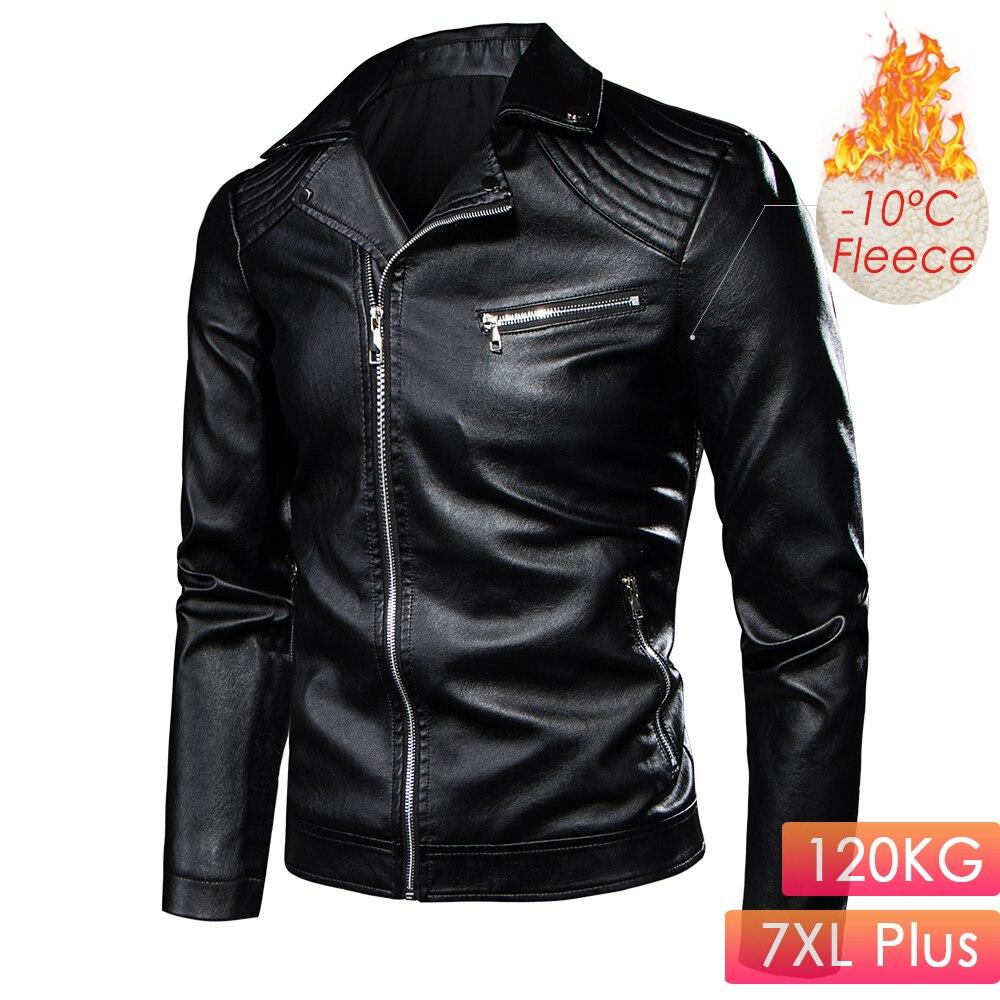 7XL Plus Men 2020 Winter Motor Biker Vintage Casual Fleece Leather Jacket Coat Men Autumn Design Rivet Pockets Leather Jackets