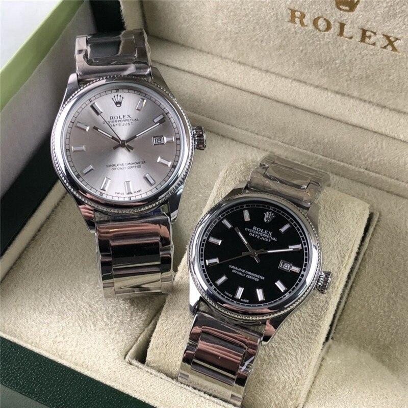 Rolex-marca de lujo de las mujeres del cuarzo relojes reloj de cuarzo de acero inoxidable correa de reloj clásico vestido de negocios reloj de los hombres 1144