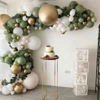green and gold latex balloon chain dinosaur theme decor baby shower wedding decor birthday party balon jungle safari party balon