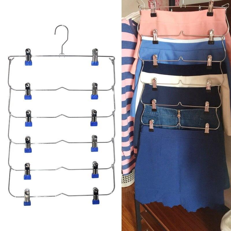 Perchas de ropa multicapa falda pantalones percha para pantalones antideslizante de Metal Clips para colgar con 12 Clips de almacenamiento de ropa Rack soporte
