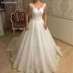 Vestidos De Novia Elegant A-Line Appliques Lace Wedding Dresses V Neck Backless Bridal Custom Tulle Bridal Gowns Wedding Dress