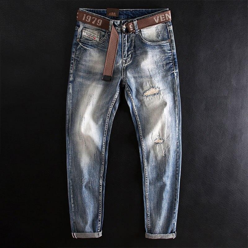 Модные мужские джинсы в Корейском стиле ретро светло-голубые эластичные узкие рваные джинсы мужские лоскутные Дизайнерские повседневные д...