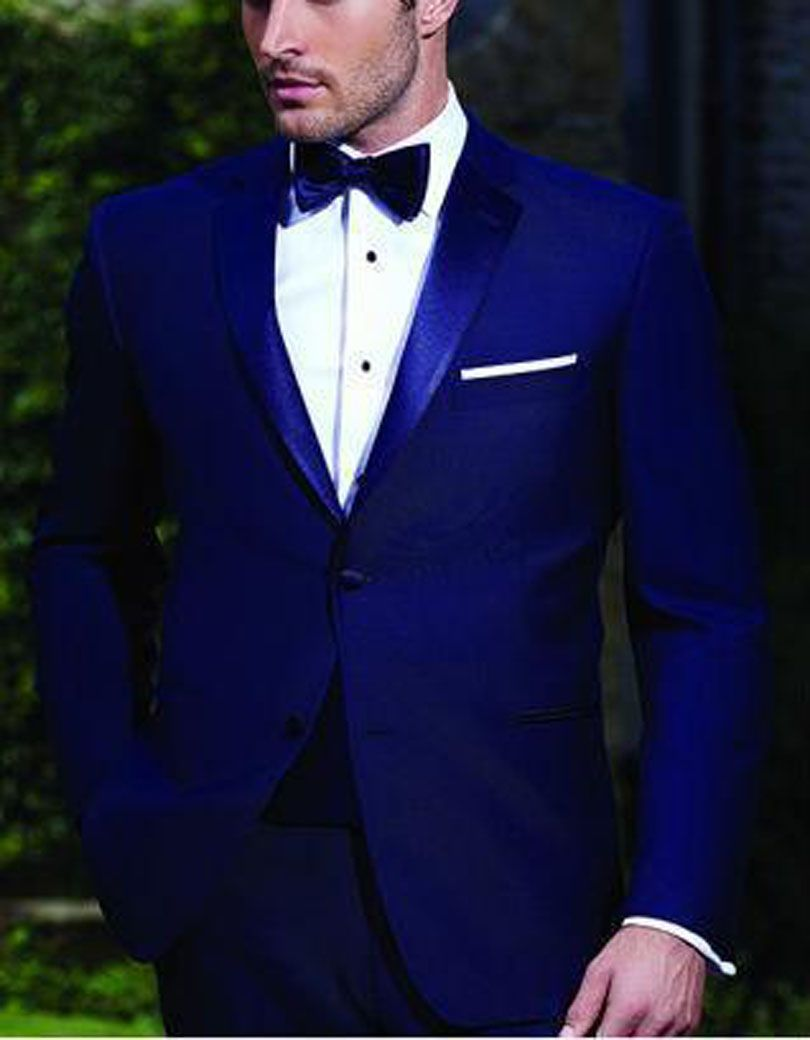 High Quality Two Buttons Royal Blue Groom Tuxedos Notch Lapel Groomsmen Best Man Wedding Prom Dinner Suits (Jacket+Pants+Bow Tie