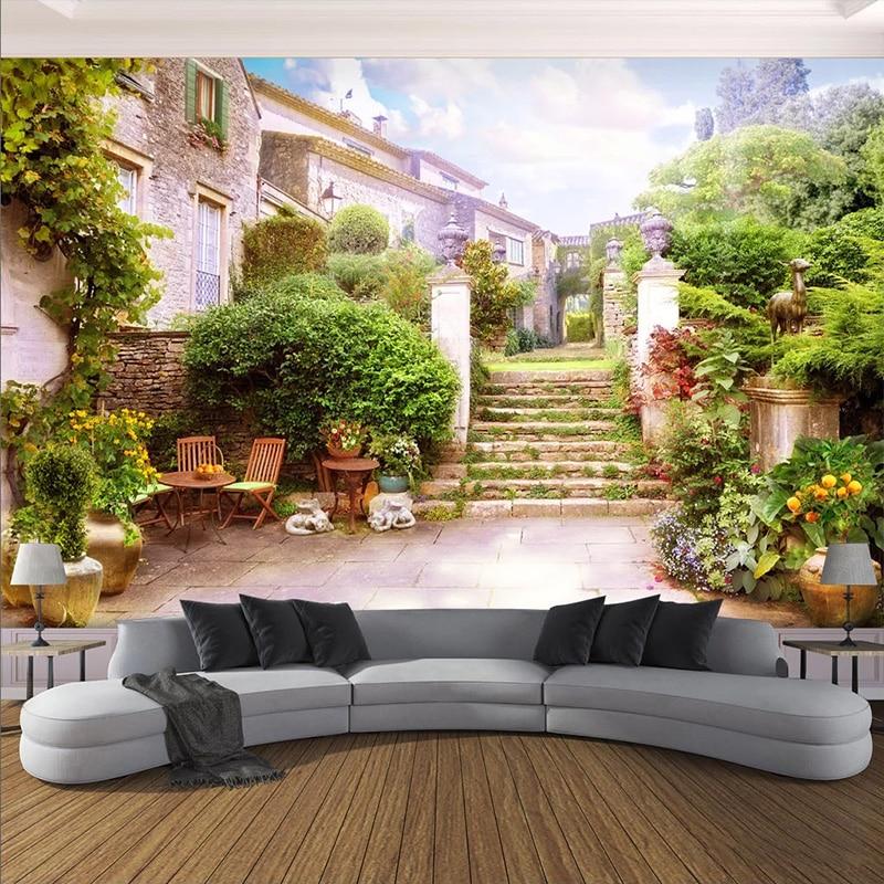 Фотообои 3D маленький город сад пейзаж фрески гостиная кафе ресторан фон настенная живопись Papel De Parede Fresco