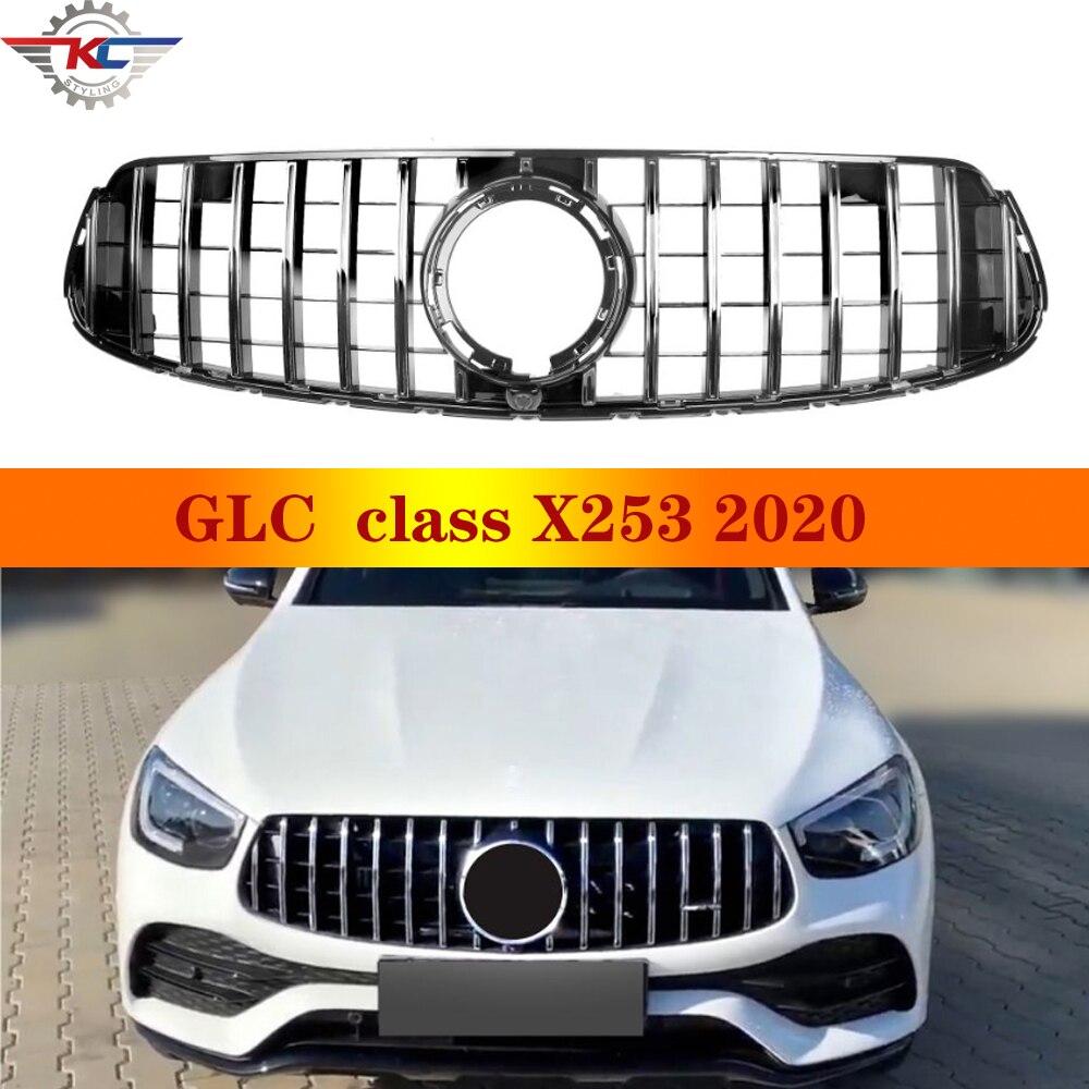 Para GLC Class X253 C253 W253 5 puertas SUV Coupe 2020 GT Grill rejilla de parachoques frontal sin cámara