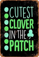cutest clover in the patch tin sign art wall decorationvintage aluminum retro metal sign