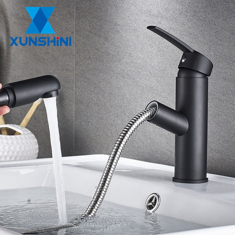 XUNSHINI Bathroom Kitchen Basin Faucet Single Handle Pull Out Spray Sink Tap Hot And Cold Water Cran