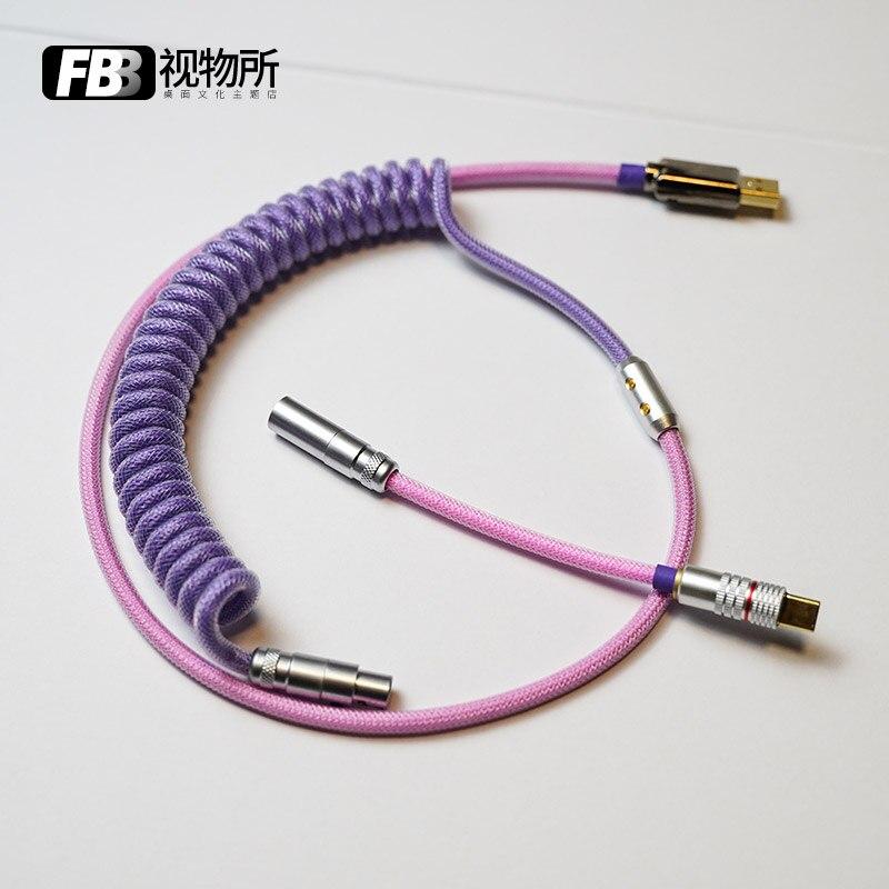 كابلات FBB مصنوعة يدويا حسب الطلب Hana Keycap خط لوحة المفاتيح الميكانيكية كابل نقل بيانات Type-C مايكرو ميركو إلى موصل USB الأرجواني الوردي