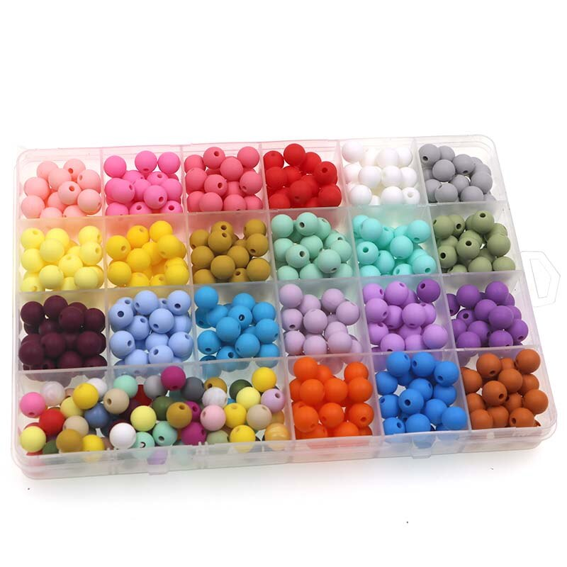 Kovict 50Pcs Silicone Beads 9mm Round Perle Silicone Dentition Baby Teething Beads For Jewelry Makin