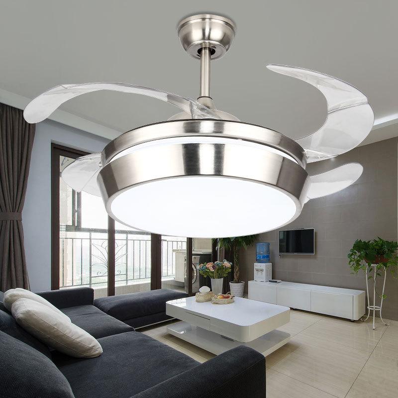 Ventiladores de techo Led modernos con lámparas de ventilador de color plata clara, Luminaria de control reomote de 42 pulgadas para sala de estar y dormitorio en verano