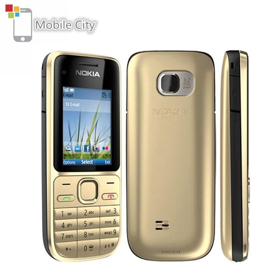 Б/у Nokia C2-01 сотовые телефоны 3.2MP, 3G, с функцией Поддержка Русский Иврит арабская клавиатура разблокирована отремонтированный мобильный телеф...