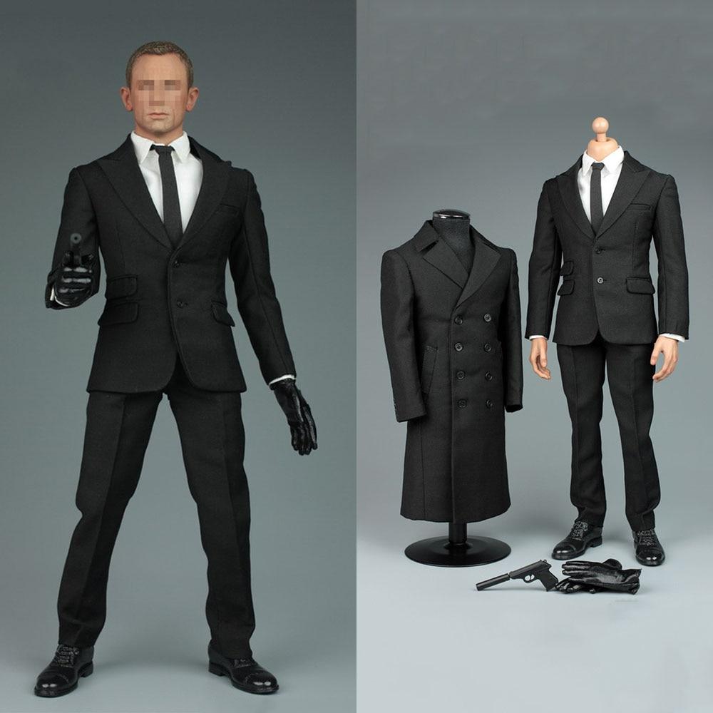 1/6 Male Solider Figure James 007 Bond Secret Suit Overcoat Shirt & Pants & Shoes & Gloves+necktie V1006 For 12'' Action Figure