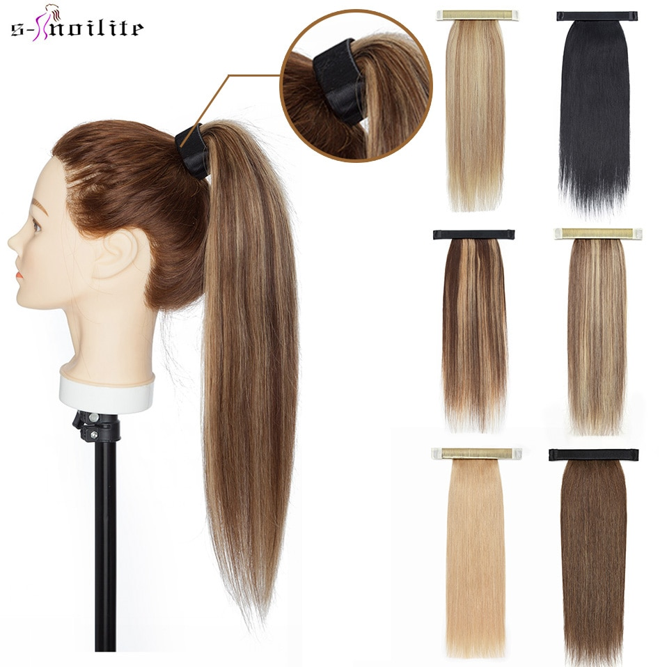 """Snoilite 14""""-20"""" Human Hair Ponytail Wrap Around Straight Drawstring Hairpiece Brazilian Clip In Hair Extensions Remy Ponytail"""