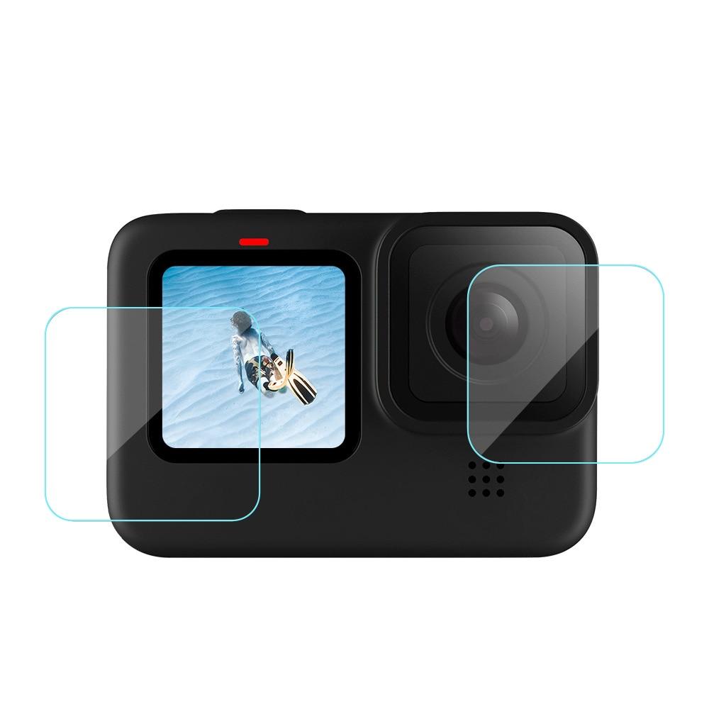 30 مجموعة/وحدة 3 قطعة الزجاج المقسى فيلم ل Gopro بطل 9 الأسود كاميرا عدسة/الجبهة/الخلفي شاشة screeprotector أفلام + أفلام ل hero9