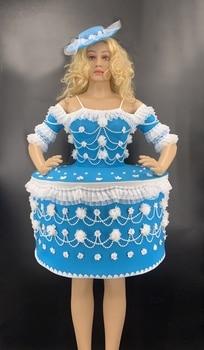 Nightclub Bar DJ Female Vintage Stage Dress 3D Print Huge Elastic Performance Dress Hand Embroidery Beading Pearls Cake Dress