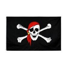 johnin 90X150cm jolly roger skull bone with red scart pirate Flag