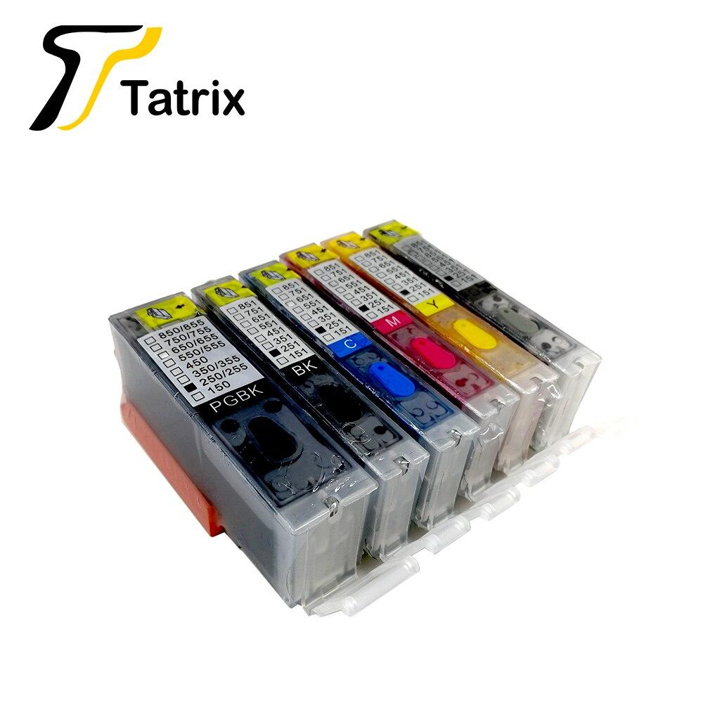Tatrix 6PK pełna tusz wielokrotnego napełniania wkład drukujący kompatybilny dla PGI250 CLI251 garnitur dla canon MG5420 MG5520 MG6320 MG6420 7120 Ip8720 z łuku